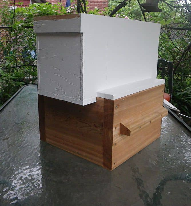 Langstroth nuc box on top of a warre box